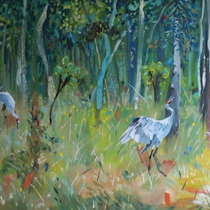 (CreativeWork) Dancing Brolga  (SALE was $625) by Susan Trudinger. arcylic-painting. Shop online at Bluethumb.