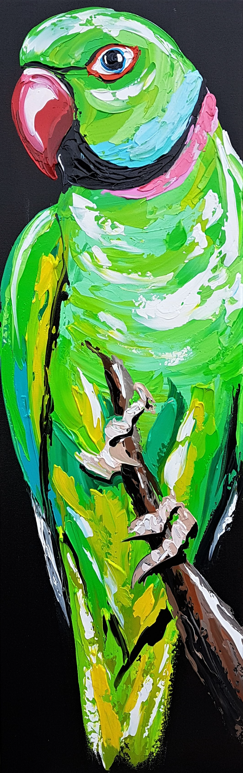(CreativeWork) Indian Ringneck  by Lisa Fahey. Acrylic Paint. Shop online at Bluethumb.