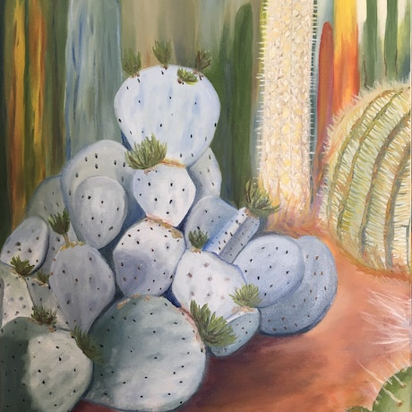 (CreativeWork) cactus garden by Keanna-Belle Sacilotto. Oil Paint. Shop online at Bluethumb.