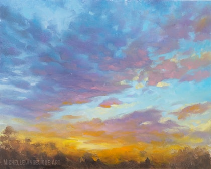 (CreativeWork) Sunset study #4 (framed) by Michelle Angelique. oil-painting. Shop online at Bluethumb.