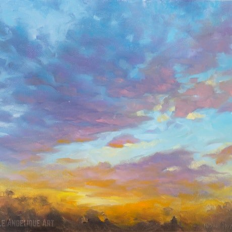 (CreativeWork) Sunset study #4 (framed) by Michelle Angelique. Oil Paint. Shop online at Bluethumb.