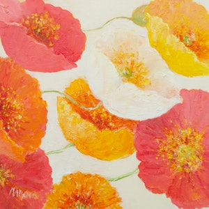 (CreativeWork) Graceful Poppies by Jan Matson. oil-painting. Shop online at Bluethumb.