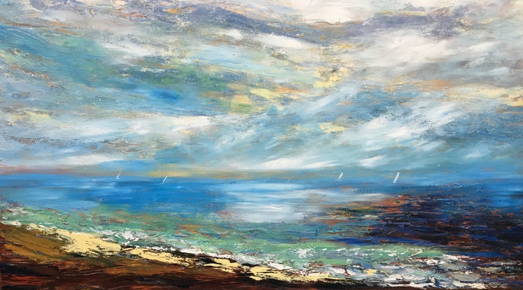 (CreativeWork) Offshore by Liz Muir. Oil Paint. Shop online at Bluethumb.