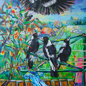 (CreativeWork) Morning Guests by Katerina Apale. arcylic-painting. Shop online at Bluethumb.