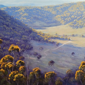 (CreativeWork) Afternoon Light Wolgan Valley by Graham Gercken. oil-painting. Shop online at Bluethumb.