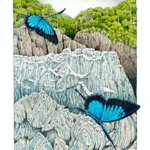 """(CreativeWork) """"The Descent"""" ( Baron Gorge) by David Hilton Stacey. mixed-media. Shop online at Bluethumb."""