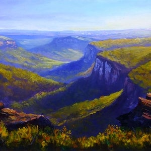 (CreativeWork) Mt Banks traverse - Acrylic painting ready to hang by Christopher Vidal. arcylic-painting. Shop online at Bluethumb.