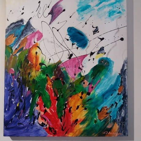 (CreativeWork) Gaiety by Nancy Anderson. Acrylic Paint. Shop online at Bluethumb.