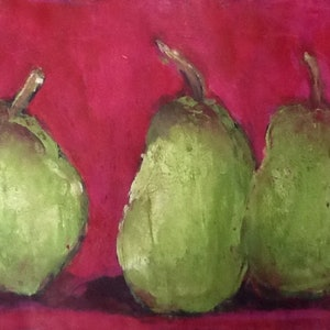 (CreativeWork) Even pears have favourites  no1 by Jules Baldwin. arcylic-painting. Shop online at Bluethumb.