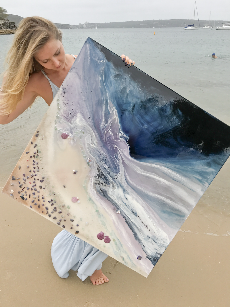 (CreativeWork) Twilight Date - Velvet Purple Black  Ocean Wave Beach - OCEAN SEASCAPE Original Abstract Seascape  by MARIE ANTUANELLE. resin. Shop online at Bluethumb.
