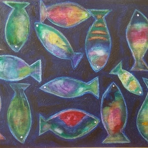 (CreativeWork) Pisces Dreaming  by Joanne Kennedy. oil-painting. Shop online at Bluethumb.