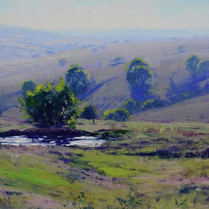 (CreativeWork) Morning light Landscape, Mudgee by Graham Gercken. oil-painting. Shop online at Bluethumb.