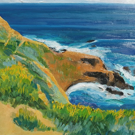 (CreativeWork) Cape Schanck #1 by Timothy Dell. Oil Paint. Shop online at Bluethumb.