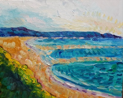 (CreativeWork) Gunnamatta Beach #2 by Timothy Dell. oil-painting. Shop online at Bluethumb.