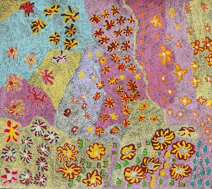 (CreativeWork) Bush Flowers by Molly Miller. arcylic-painting. Shop online at Bluethumb.