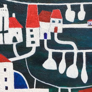 (CreativeWork) Village by the Bay by karin Hotchkin. arcylic-painting. Shop online at Bluethumb.