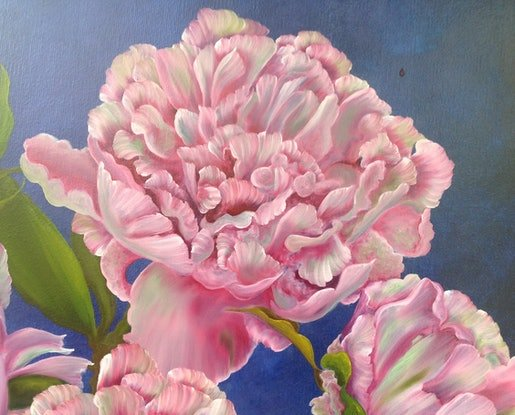 (CreativeWork) Peonies in Cobalt Vase by Michael Giddens. #<Filter:0x00007fef07a2ac80>. Shop online at Bluethumb.