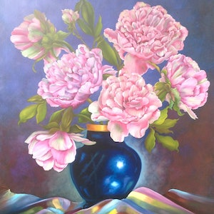 (CreativeWork) Peonies in Cobalt Vase by Michael Giddens. oil-painting. Shop online at Bluethumb.