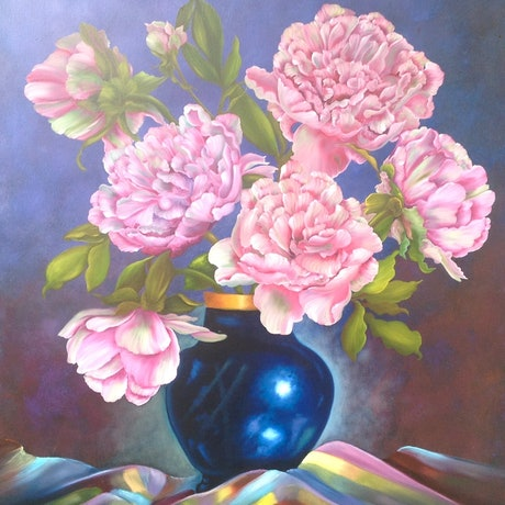 (CreativeWork) Peonies in Cobalt Vase by Michael Giddens. Oil Paint. Shop online at Bluethumb.