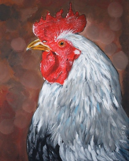 (CreativeWork) Proud Rooster by Julie Hollis. arcylic-painting. Shop online at Bluethumb.