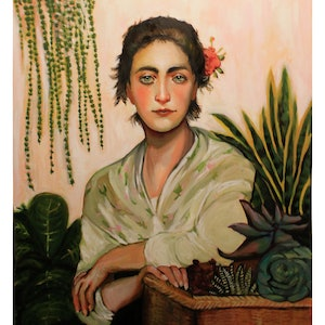 (CreativeWork) The Succulent Seller  by Rebecca Read. oil-painting. Shop online at Bluethumb.