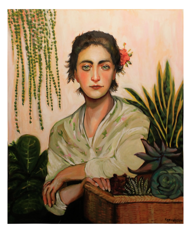(CreativeWork) The Succulent Seller  by Rebecca Read. Oil Paint. Shop online at Bluethumb.