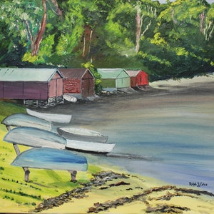 (CreativeWork) COLES BAY - TASMANIA by Ralph Coles. oil-painting. Shop online at Bluethumb.