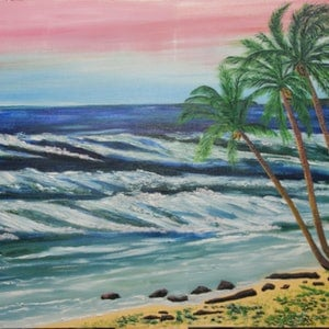 (CreativeWork) OCEAN VIEW - MISSION BEACH QLD by Ralph Coles. oil-painting. Shop online at Bluethumb.