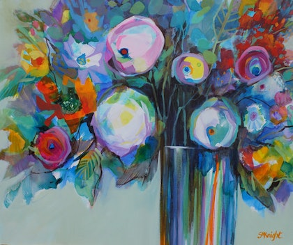 (CreativeWork) FLOWER POWER by Sandra Michele Knight. arcylic-painting. Shop online at Bluethumb.