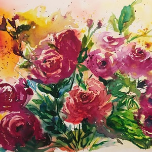 (CreativeWork) Garden Roses .  by Ruth Bye. watercolour. Shop online at Bluethumb.