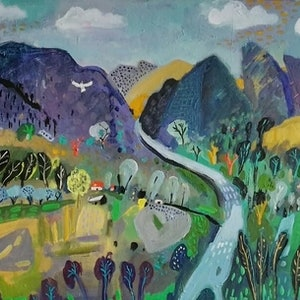 (CreativeWork) Jagged Mountains by Susan Trudinger. arcylic-painting. Shop online at Bluethumb.