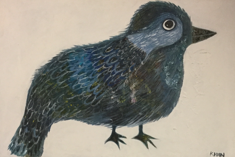 (CreativeWork) Blue Bird by karin Hotchkin. arcylic-painting. Shop online at Bluethumb.