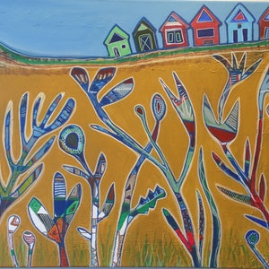 (CreativeWork) Coastal Meadow  by karin Hotchkin. arcylic-painting. Shop online at Bluethumb.