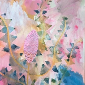 (CreativeWork) Framed Pink Banksia by Marinka Parnham. arcylic-painting. Shop online at Bluethumb.
