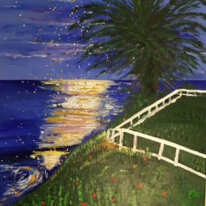 (CreativeWork) Cronulla by Moonlight .  by Ruth Bye. arcylic-painting. Shop online at Bluethumb.