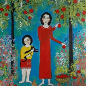 """(CreativeWork)  """"A  Lovely  Garden"""" by Catherine Walker. arcylic-painting. Shop online at Bluethumb."""