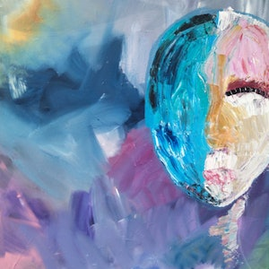 (CreativeWork) Face it by Alyce Procter. arcylic-painting. Shop online at Bluethumb.