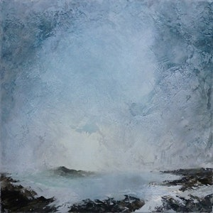 (CreativeWork) Coastal Mist by patricia walsh. oil-painting. Shop online at Bluethumb.