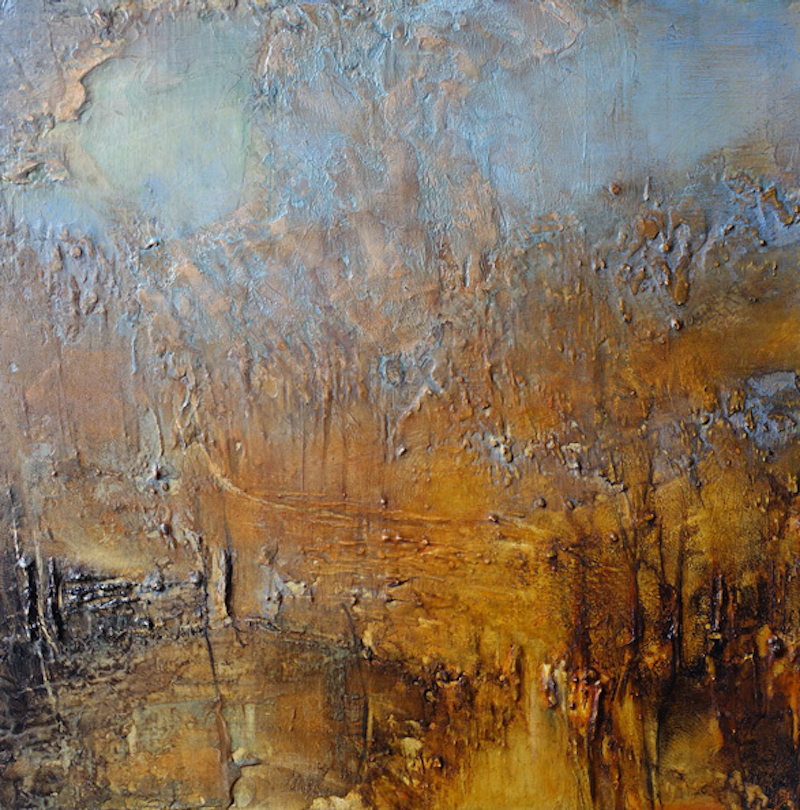 (CreativeWork) The flickering glow of orange and gold by patricia walsh. oil-painting. Shop online at Bluethumb.