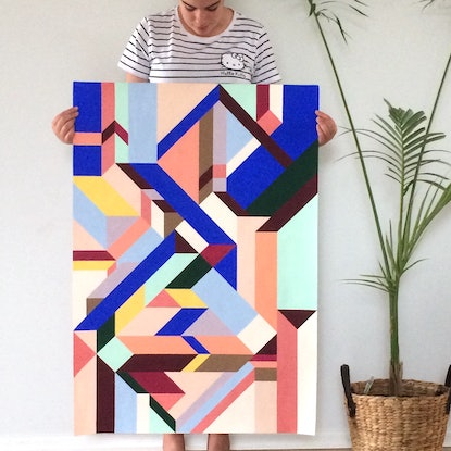 (CreativeWork) COUNTERPOINT - Geotricity Series by Melinda Katotriatis. Acrylic Paint. Shop online at Bluethumb.
