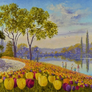 (CreativeWork) Floriade in Canberra 01 by Kith Gunawardane. oil-painting. Shop online at Bluethumb.