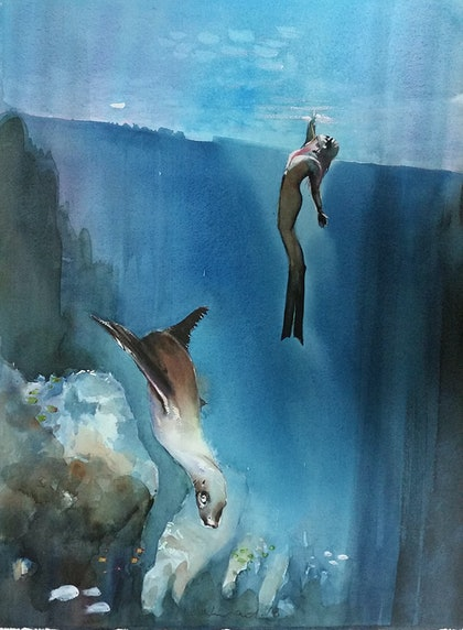 (CreativeWork) seal and diver by peter smart. watercolour. Shop online at Bluethumb.