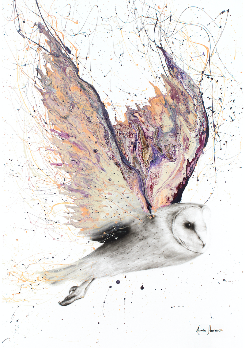 (CreativeWork) Heart Winged Owl - Limited Edition Print - A3 size - Ed. 3 of 100 by Ashvin Harrison. print. Shop online at Bluethumb.
