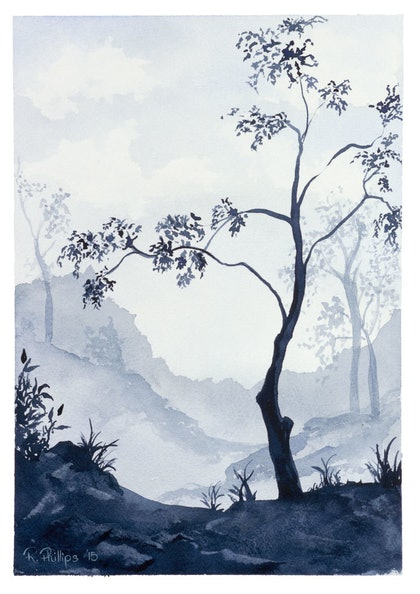 (CreativeWork) Aussie Bush in the Mist by Rebecca Phillips. watercolour. Shop online at Bluethumb.