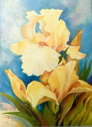 """(CreativeWork) """"Yellow Irises"""" by June king. Oil Paint. Shop online at Bluethumb."""