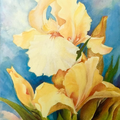 "(CreativeWork) ""Yellow Irises"" by June king. Oil Paint. Shop online at Bluethumb."