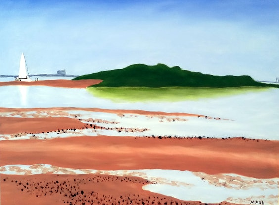 (CreativeWork) Wellington Point Morning by Mark O'Hara. Oil Paint. Shop online at Bluethumb.