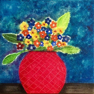 (CreativeWork) Make Mine Flowers by Joanne Kennedy. mixed-media. Shop online at Bluethumb.