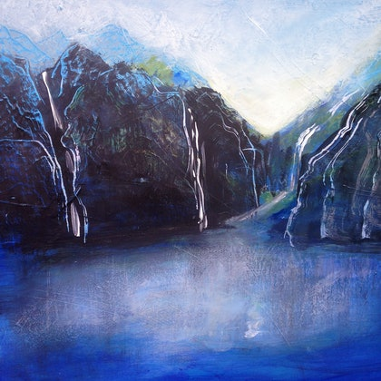 (CreativeWork) Water Fjords by Berit Zetterman. arcylic-painting. Shop online at Bluethumb.