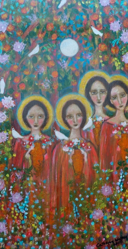 """(CreativeWork) """"Four little  Angels"""" by catherine walker. arcylic-painting. Shop online at Bluethumb."""